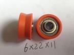 6X22X11,626ZZ包塑料V形槽滑轮轴承